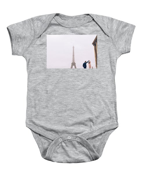 Newly-wed Couple On Their Honeymoon In Paris, Loving Having A Date Near The Eiffel Tower Baby Onesie