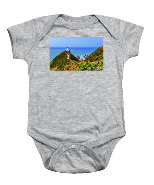 Nugget Point Lighthouse, New Zealand Baby Onesie
