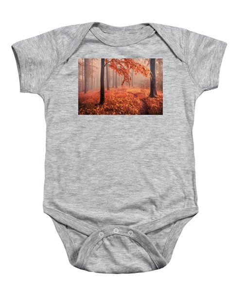 Orange Wood Baby Onesie