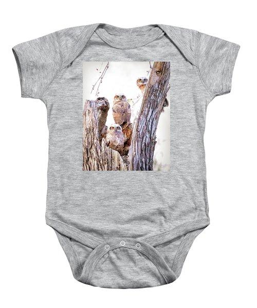 Owl Trio Standing Guard Baby Onesie
