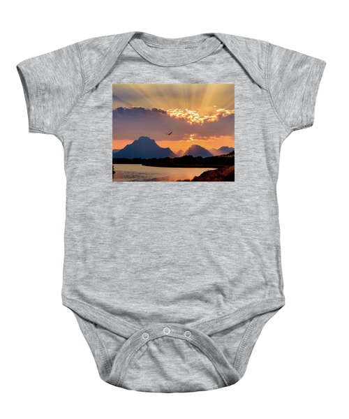 Baby Onesie featuring the photograph Oxbow Sunset by Mary Hone