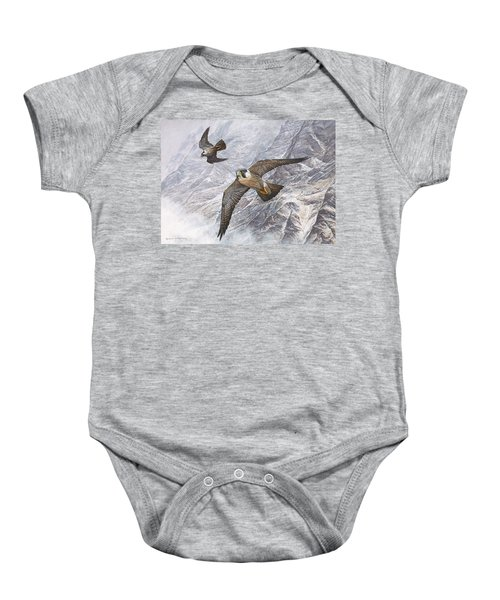 Pair Of Peregrine Falcons In Flight Baby Onesie