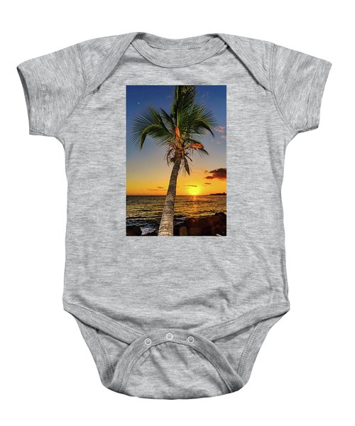 Baby Onesie featuring the photograph Palm Tree At Sunset by John Bauer