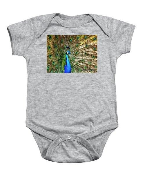Peacock Full Bloom Baby Onesie