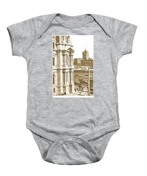 Philadelphia City Hall And Wanamaker Store C 1900 Vintage Photog Baby Onesie