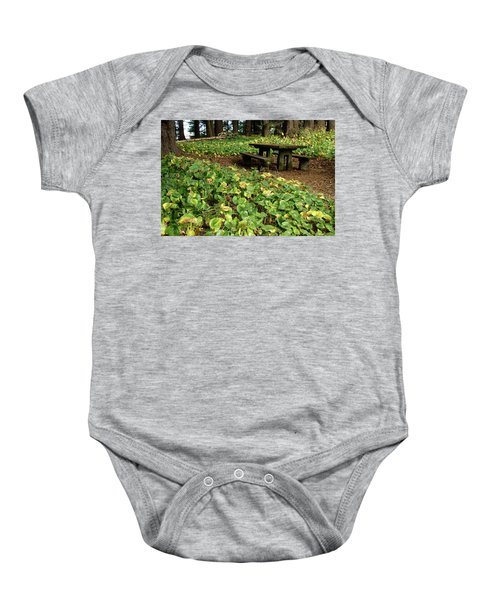 Picnic  Table In The Forest  Baby Onesie
