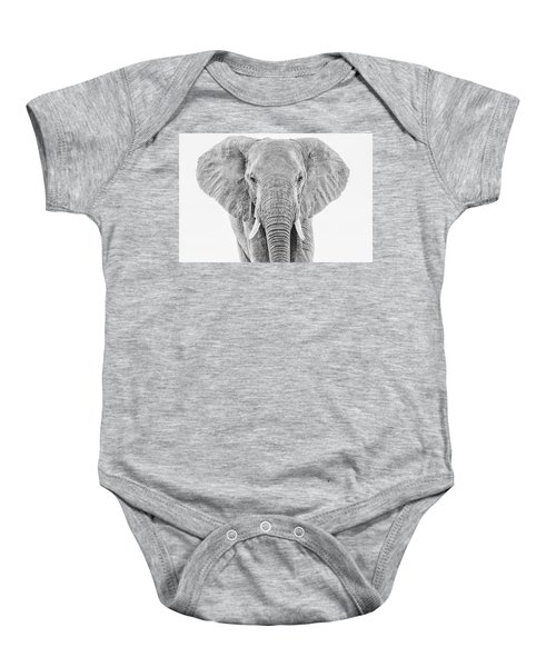 Portrait Of An African Elephant Bull In Monochrome Baby Onesie