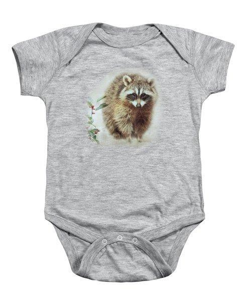 Raccoon In Winterberry Baby Onesie