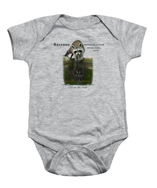 Raccoon Puzzler And Mastermind Baby Onesie