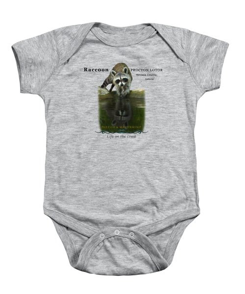 Raccoon Puzzler And Mastermind Baby Onesie