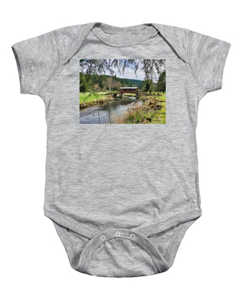 Ranch Hills Covered Bridge Baby Onesie