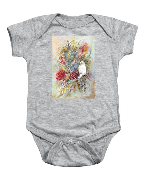 Rare White Sparrow - Portrait View. Baby Onesie