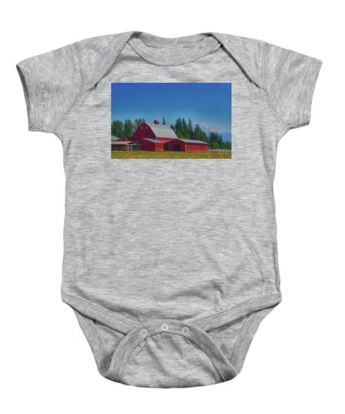 Red Barn With Mount Rainier Baby Onesie