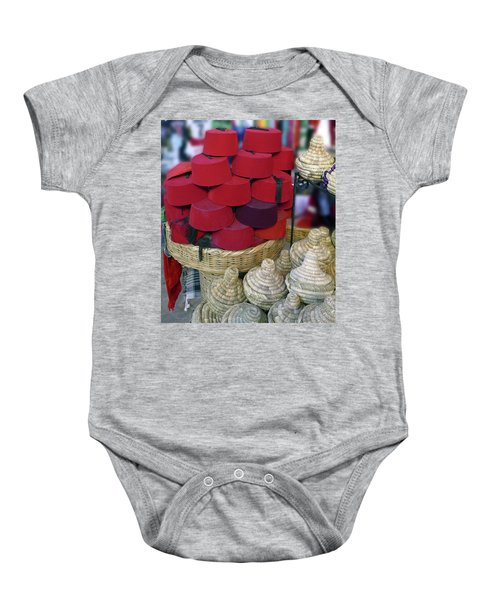 Red Fez Tarbouche And White Wicker Tagine Cookers Baby Onesie