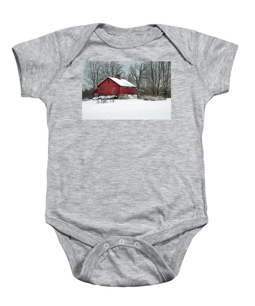 Red New England Colonial In Winter Baby Onesie