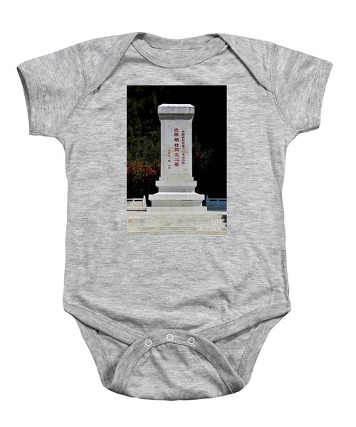 Remembrance Monument With Chinese Writing At China Cemetery Gilgit Pakistan Baby Onesie