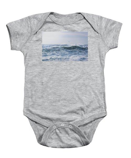 Reynisfjara Seagull Over Crashing Waves Baby Onesie