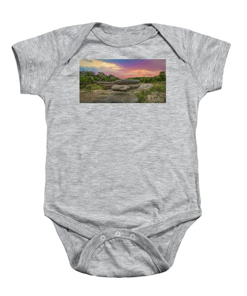 River Erosion At Sunset Baby Onesie