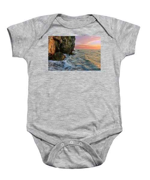 Rocky Cliffs And Waves During Sunset Baby Onesie