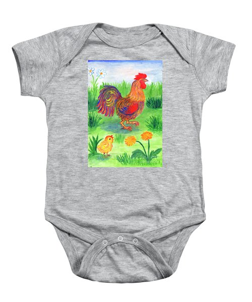 Rooster And Little Chicken Baby Onesie