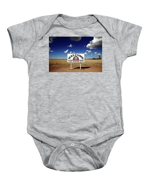 Baby Onesie featuring the photograph Route 66 - Midpoint Sign 2010 Bw by Frank Romeo