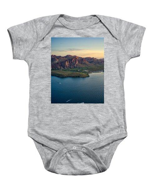 Saguaro Lake Mountain Sunset Baby Onesie