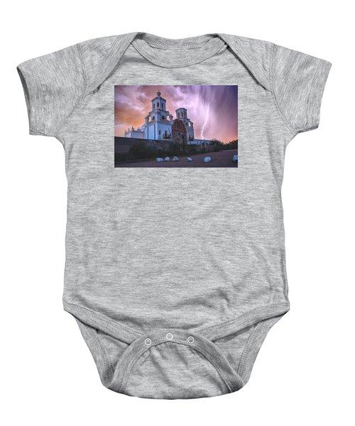 San Xavier Mission Lightning Baby Onesie
