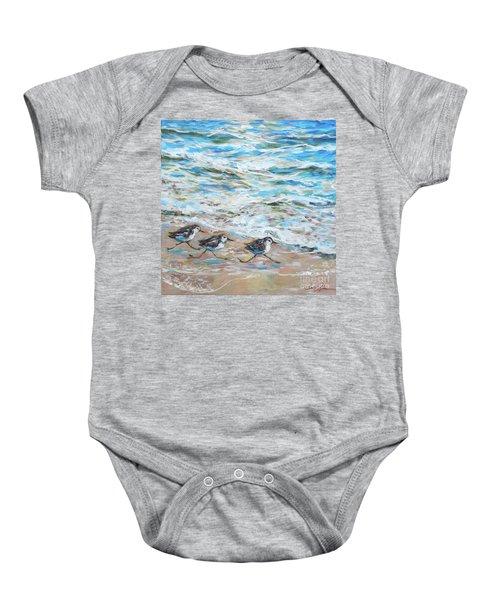 Sanderlings Running Baby Onesie