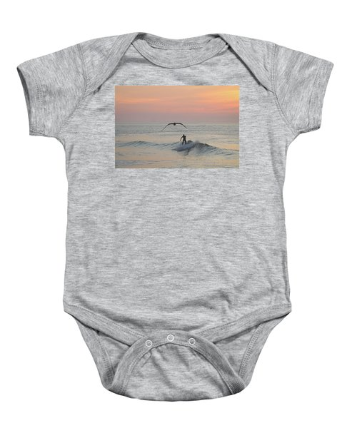 Seagull And A Surfer Baby Onesie