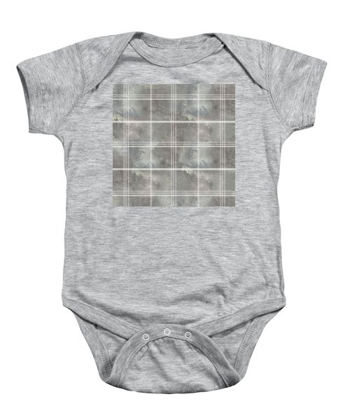 Soft Textured Cream And Blue Plaid Baby Onesie