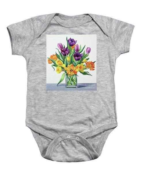 Spring Flowers Watercolor Baby Onesie