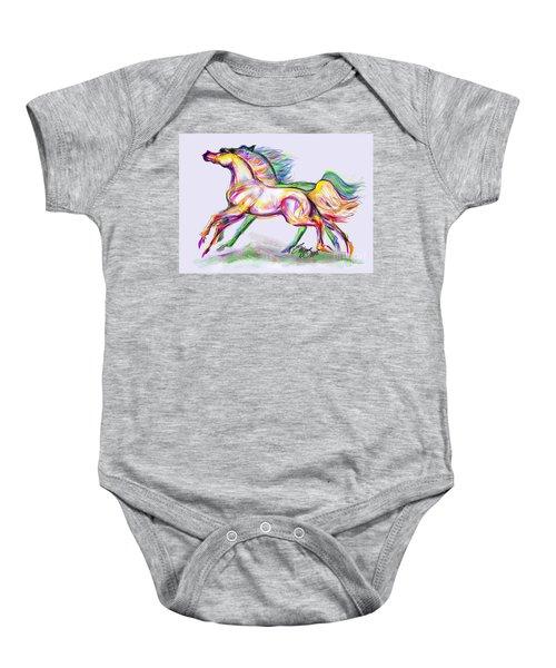 Crayon Bright Horses Baby Onesie