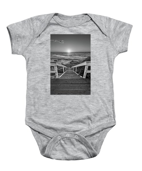 Steps To The Sun  Black And White Baby Onesie