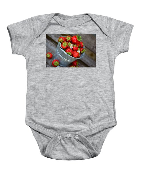 Strawberries And Daisies Baby Onesie