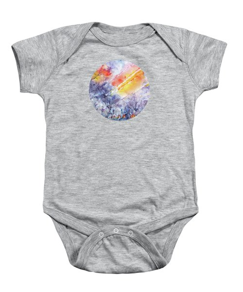 Sunrise In Early Spring Abstract Watercolor Background Baby Onesie