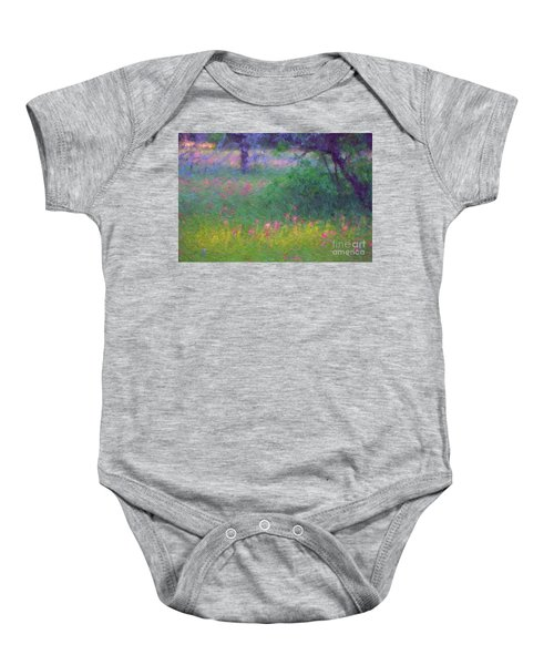 Sunset In Flower Meadow Baby Onesie