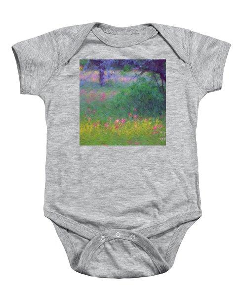 Sunset In Flower Meadow Baby Onesie