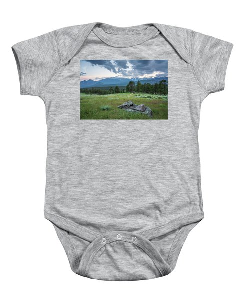 Sunset In Rocky Mountain National Park  Baby Onesie