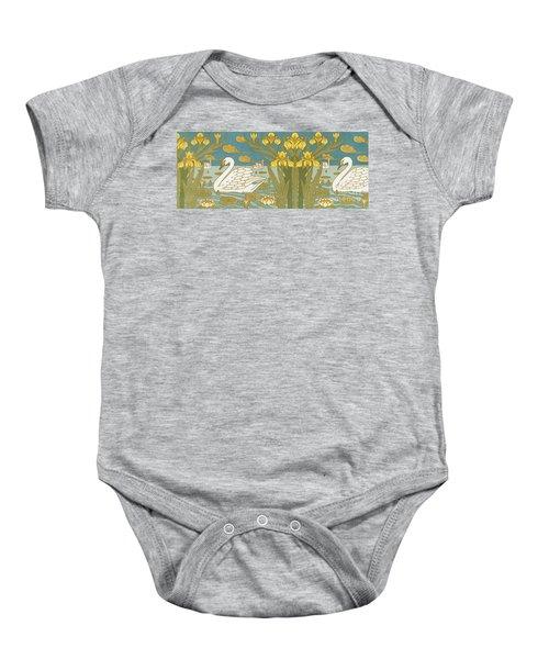 Swans, Iris And Waterlillies Baby Onesie