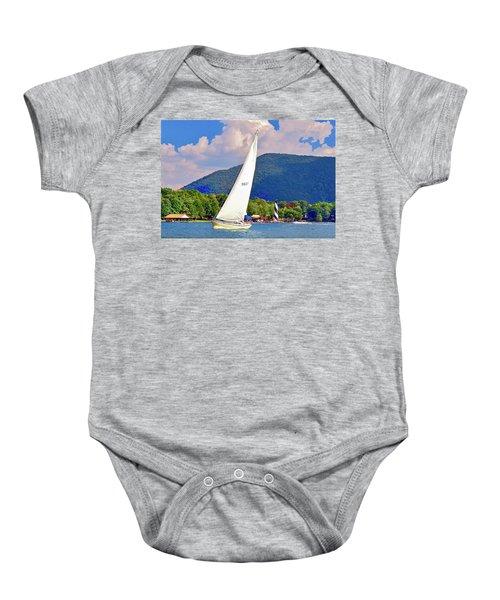 Tacking Lighthouse Sailor, Smith Mountain Lake Baby Onesie