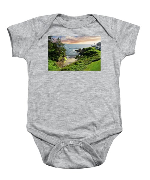 Tall Conifer Above Protected Small Cov Baby Onesie