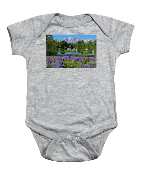 Tetons And Lupines Baby Onesie