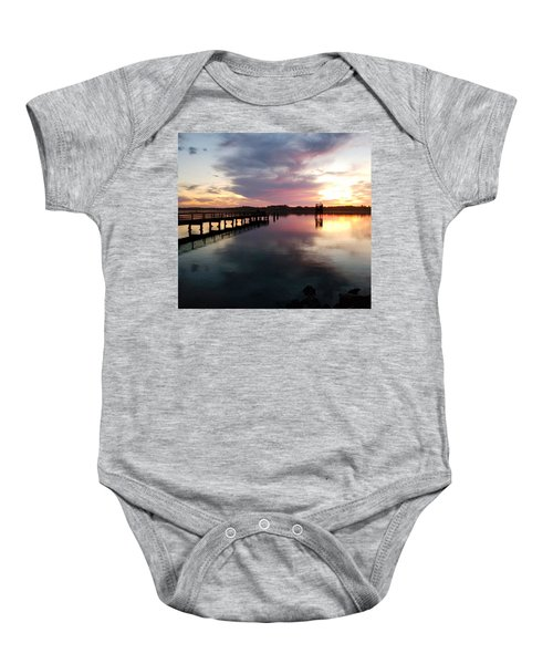 The Hollering Place Pier At Sunset Baby Onesie