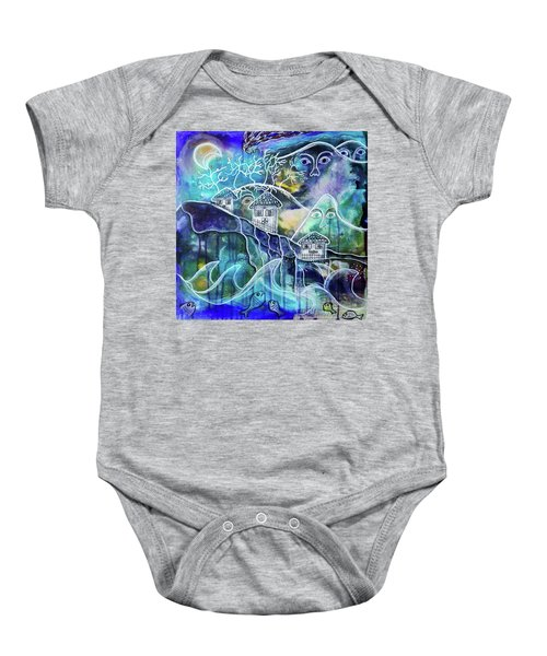 Three Houses On A Cliff Baby Onesie