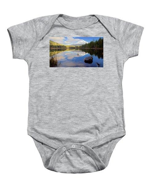 Trillium Lake Morning Reflections Baby Onesie