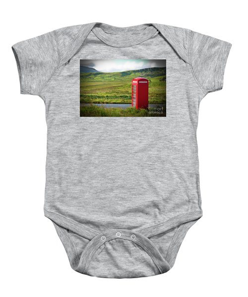 Typical Red English Telephone Box In A Rural Area Near A Road. Baby Onesie