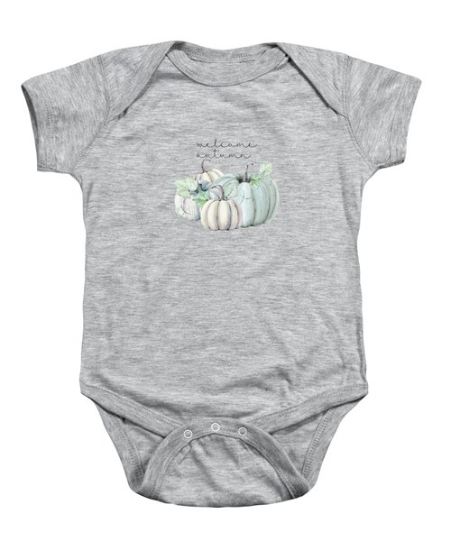 Welcome Autumn Blue Pumpkin Baby Onesie