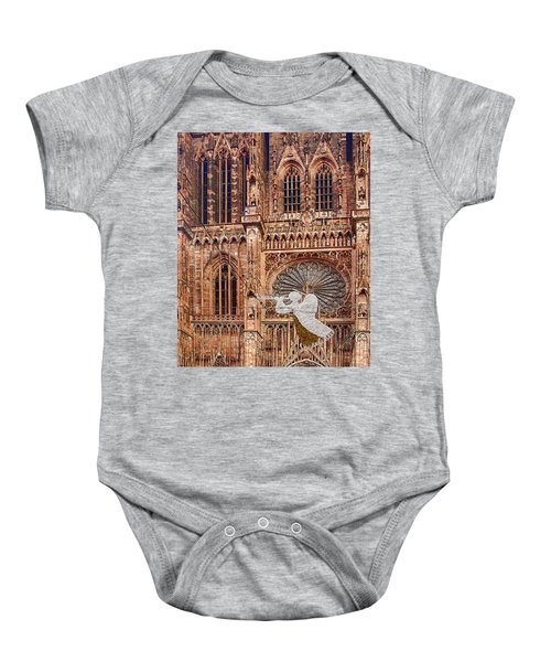 White Angel Decorations On Shops At The Christmas Market Baby Onesie