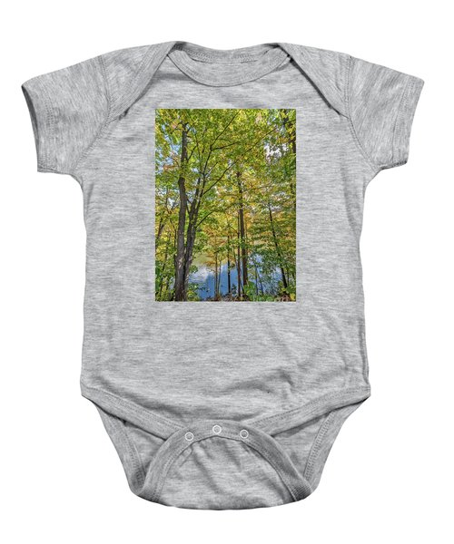 White Clouds Reflected In Rippling Water Baby Onesie