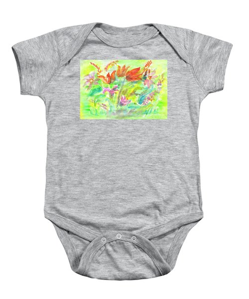 Wild Flowers In The Sunny Meadow Baby Onesie